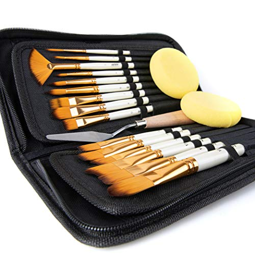 Artify 15 pcs Paint Brush Set for Acrylic Oil Watercolor Gouache Painting includes Pop-up Carrying Case with Palette Knife and 2 Sponges