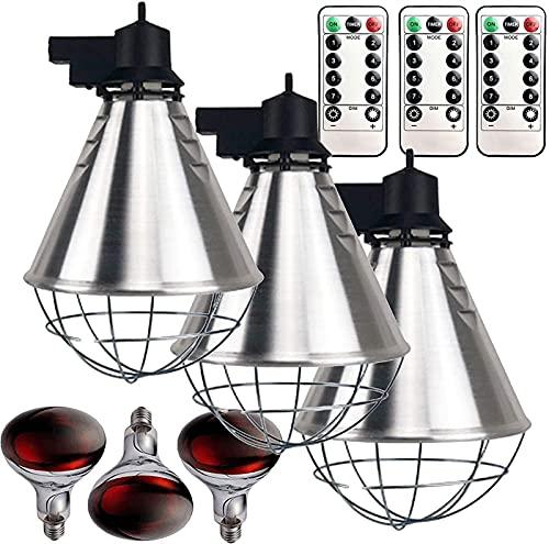 MARHD Lámpara de calor infrarroja para polluelos cachorros, luces de calentamiento de criadora de invierno para aves de corral mantener el calor, temperatura ajustable, calentador de gallinero con fun