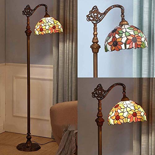 12 inch Tiffany Style Floor Lamp,Vintage Stained Glass Floor Lights with 1 Light, Decoration Reading Standing Light for Living Room Bedroom Office, E27(No Light Source) (Color : 6)