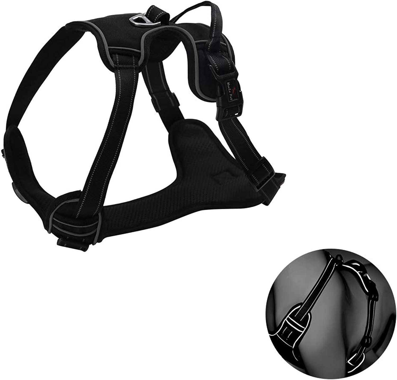 Dog Harness, Soft Padded Outdoor Training Walking Pet Vest with Handle, Reflective Harness (No Traction Rope),XL