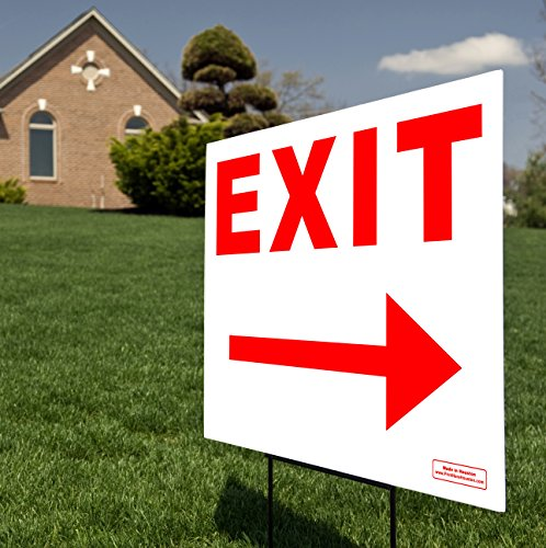 """Exit Right & Left Arrow Red 24"""" x 18"""" Sign - Traffic Directional Sign w/Metal Stake - Perfect for Small Business, Schools, Construction, Traffic Zones - Tall Wire Stand Included"""