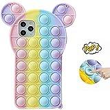 Fidget Toy Phone Case, Push Pop Bubble Fidget Sensory Toy Protecive Case for iPhone11,11Pro,11 ProMax,12,12Pro,12 ProMax (B, iPhone12 ProMax)