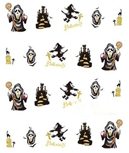 CM Nail Art manucure Stickers Ongles décalcomanie Scrapbooking: Déco Halloween sorcières châteaux Masques