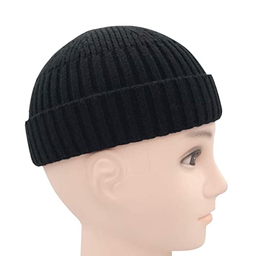 ad5f18842ea8 Clecibor Unisex Rollup Edge Knit Skullcap Adjustable Short Beanie for Men  Women