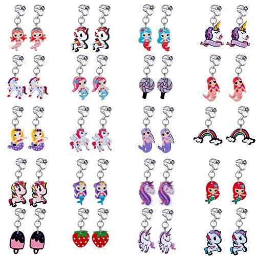 20 paia di orecchini a clip, per bambine, varie forme (sirena, unicorno, lecca lecca, cono gelato, arcobaleno). e Ottone, cod. TH-EJ