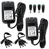 [UL Listed] ZUEXT 2 Pack 12V 2A 24W AC DC Switching Power Supply Adapter (Input 100-240V, Output 12 Volt 2 Amp) Wall Transformer Charger for DC 12V CCTV Camera LED Strips Light (3Ft Cord,24 Watt Max)