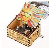 Jieddey Caja de Música Eres mi Sol,Caja Música Mecánica de Madera Crank Music Boxes con Manivela Vintage Caja Musical con Grabado de Sol Regalo para cumpleaños,Navida Color