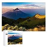 Indonesia Mountains Island Java Volcán 1000 piezas único rompecabezas de madera, rompecabezas de gran formato para adultos, niños, adolescentes, familias, juegos educativos y juguetes.