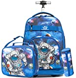 Boys Rolling Backpack Kids Backpacks for Boys for School Student 19' Wheeled Trolley Travel Trip Luggage