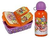 CM Set Botella de Agua de Aluminio Infantil con Fiambrera sandwicheras con 3 Compartimentos para niñas y niños, cantimplora térmica a Prueba de Fugas sin BPA Termo 400 ml