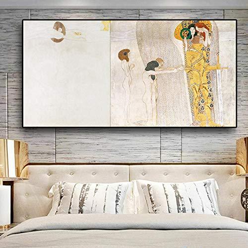 Ritter Detail des Beethoven-Frieses von Gustav Klimt Ölgemälde auf Leinwand Kunst Poster und Drucke Wandbild für Wohnzimmer 60x120cm ohne Rahmen