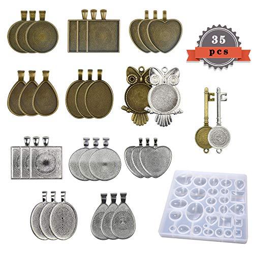 FineInno 34 Stück/7 Stile Anhänger Tabletts + 1 Stück Harz Gießformen Silikonform Epoxy Resin Molds Silikon Gießform Resin Form Gussform