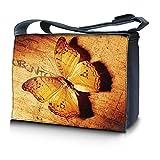 Luxburg® Design Messenger Bag Notebooktasche Umhängetasche für 17,3 Zoll, Motiv: Vintage Schmetterling