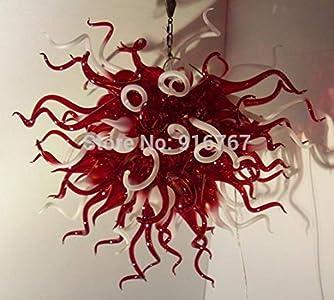 SHIJING Libre de flete aéreo bajo Precio de la lámpara Brillante Coloreado Rojo y Blanco de Murano lámpara de Cristal