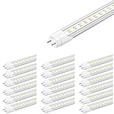 T8 4ft 22W LED Tube, 2-Row LED Tube (Replaces 60W), 6500K Clear Dual Ended Power, LED Tube Lights for Indoor Lighting 2200 Lumens, 5 Years Warranty, ETL, DLC Listed by LEDMyplace (25-Pack)