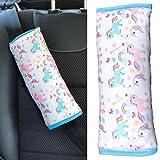 Almohadilla HECKBO para coche con dibujos de unicornio para niños - lavable a máquina - suave, tacto de peluche - calidad para el cinturón de seguridad almohadilla de cinturón - 30 cm x 12 cm