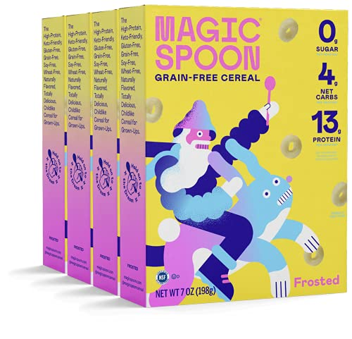 magic spoon flavors Magic Spoon Cereal, Frosted 4-Pack - Keto, Gluten & Grain Free, Low Carb, High Protein, Zero Sugar, Non-GMO Breakfast Cereal