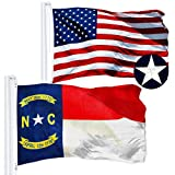 G128 Combo Pack: USA American Flag 3x5 Ft Embroidered Stars & North Carolina State Flag 3x5 Ft Embroidered