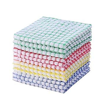 Kitchen Dishcloths 12pcs 11x12 Inches Bulk Cotton Kitchen Dish Cloths Scrubbing Wash Cloths Sets  Mix color