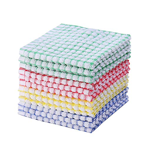 Kitchen Dishcloths 12pcs 11x12 Inches Bulk Cotton Kitchen Dish Cloths Scrubbing Wash Cloths Sets (Mix color) Idaho