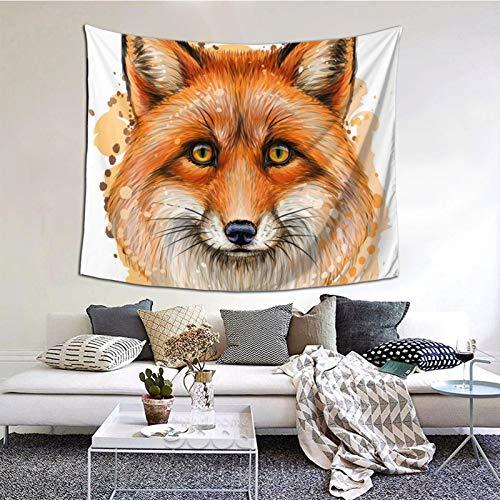 Tapiz grande de acuarela de Fox para colgar en la pared de 152 x 127 cm