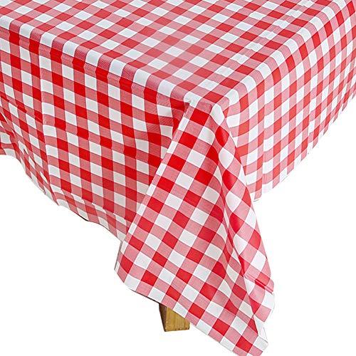 Einweg Tischdecke aus Kunststoff, 5 PCS 137 x 274cm Party-Tischdecken, Party Zubehör für Kinder Picknick Geburtstag Partydekorationen (Rot-weiß Kariert)