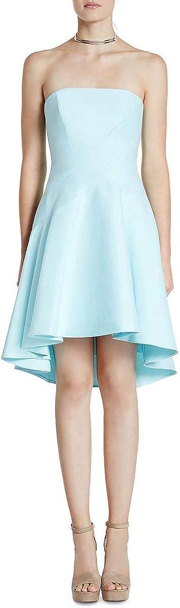 Halston Heritage Women's Strapless Structured Dress W Seams & Hi-lo Skirt