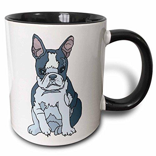 3dRose Cute And Cuddly Canine French Bulldog Pup Mug, 11 oz, Black,mug_128998_4