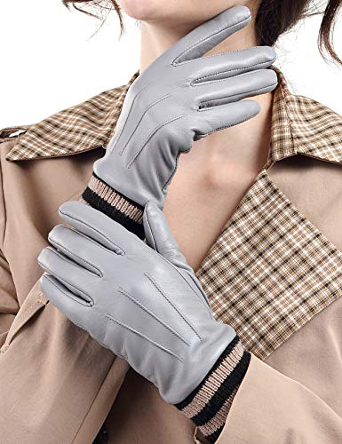 Harrms Damen Leder Handschuhe Winter FULL-HAND Touchscreen Thermofutter Geschenkverpackung Smartphone Fahrradhandschuhe Männer Motorradhandschuhe Baumwolle,Grau,XL