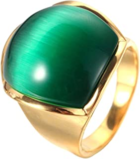YABINI Men's Titanium Steel Cat's Eyes Gemstone Diamond Rings