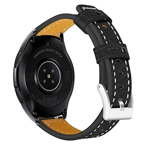 Kompatibel Samsung Galaxy Watch 46mm Armband, LederArmband klassischer Ersatzlederarmband Uhrenarmbänder Ersatzband Metallschnalle Fitnessband Schnellspanner Sportarmband (Schwarz)