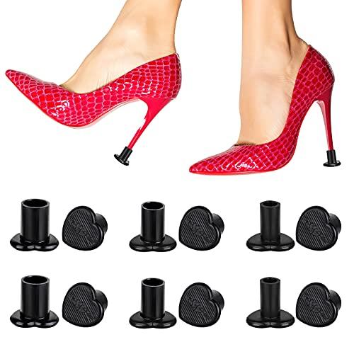 OOTSR 6 pares de protectores de talón negros para zapatos de tacón alto, tapones de talón, tapas de repuesto para bodas al aire libre o eventos colección de 3 tamaños (pequeño, mediano, grande)