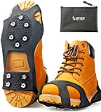Sfee Ice Cleats Snow Grips, Anti-Slip Silicone Crampons for Boots Shoes, Walk Cleats Traction Stainless Steel 10 Spikes for Walking, Jogging, Hiking, Climbing, Fishing, Running, Men