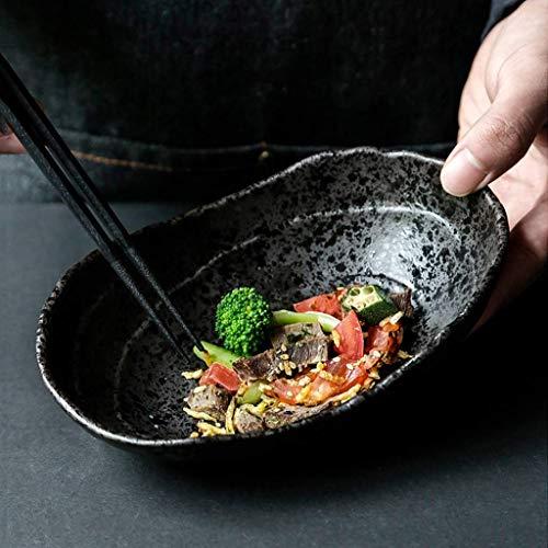 WY-YAN Estilo japonés Placa de cerámica Oval Ramen Tazón Inicio Negro Plato Restaurante Sushi Vajilla de gres del Plato