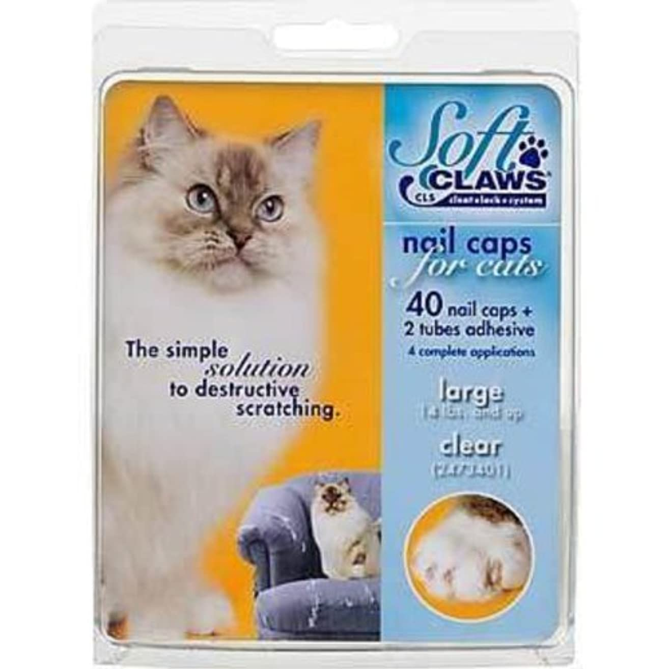 Soft Claws Nail Caps for Cats, Large Clear CLS (Cleat Lock System) Size 14+ lbs