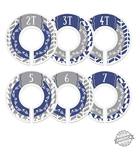 Modish Labels Toddler Child Closet Dividers, Closet Organizers, Toddler Size Dividers, Young Child Size Dividers, Boy, Woodland, Arrow, Tribal, Navy Blue, Gray, Grey (Toddler/Child)