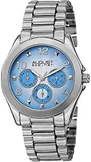 August Steiner Women's Multifunction Fashion Watch - Dial with Big Number Hour Markers + Bonus Day of Week, Date, and 24 H...