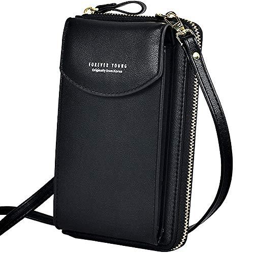 WANYIG Handy Umhängetasche Damen Handytasche zum Umhängen PU Leder Frauen Brieftasche Cross-Body Tasche Handy Schultertasche Passt Handy unter 6,5 Inch(Schwarz)