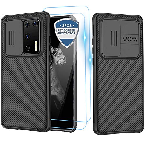 XCYYOO für Huawei P40 Pro Plus Hülle[2 Tempered Glass Screen] Camera Protection Mobile Phone Hülle [Ultra Thin Sliding Cover Protection for the Camera]Hybrid Shockproof Non-Slip Scratch Resistant Hülle
