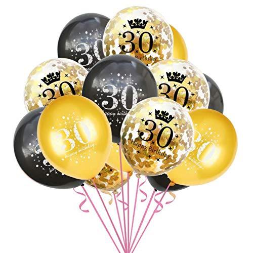 Oblique Unique® Konfetti Luftballon Set für 30. Geburtstag Feier Party Ballons 15 Stück Schwarz Gold Transparent