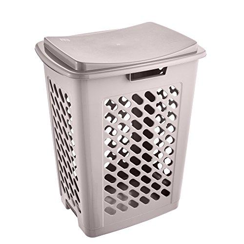 keeeper Wäschebox mit aufklappbarem Deckel, Luftdurchlässig, 60 l, Piet, Grau