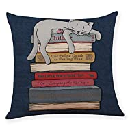 ADESHOP Cushion Cover for Sofa, Lazy kitten Printing Decorative Throw Pillow Case Cushion Cover 18 *...