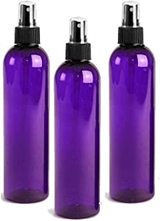 Grand Parfums 4oz Purple Plastic Refillable PET Cosmo Spray Bottles (BPA-Free) with Fine Mist Atomizer Caps (3-Pack); Beauty Care, Travel Use, Home Cleaning, DIY, Aromatherapy