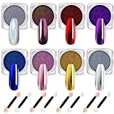 Modelones Chrome Nail Powder 8 Colors Holographic Nail Powder Manicure Mirror Effect Chameleon Laser Shimmer Nail Powder 8 PCS Eye Shadow Sticks