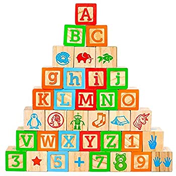 Oaktown Supply Wooden Blocks - 36 Large Stacking and Building Blocks for Toddlers 1-3 Years Old - Colorful Alphabet & Number Icons on Every Side - Educational Toddler Toys