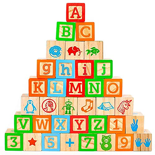 Oaktown Supply Wooden Blocks - 36 Large, Stacking and Building Blocks for Toddlers 1-3 Years Old - Colorful Alphabet & Number Icons on Every Side - Educational Toddler Toys