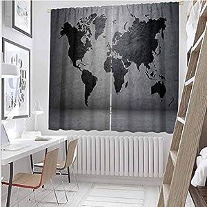 Toopeek - Cortinas opacas para dormitorio, color negro, diseño de mapa del mundo en hormigón, estructura urbana, aspecto áspero, color gris, 2 paneles de 52 x 36 pulgadas, color gris y negro
