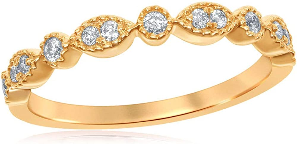 Dazzlingrock Collection 14kt Yellow Gold Womens Round Diamond Milgrain Stackable Band Ring 1/6 ctw