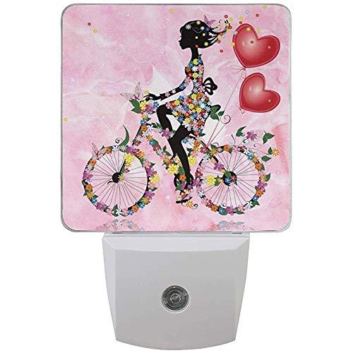 Rosa Aquarell Romantik Mädchen Fahrrad Weiß Sensor Nachtlicht Super Bright Power Dämmerung bis...