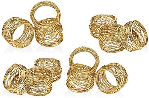 ARN CRAFTS Golden Round Mesh Napkin Rings- Set of 12 for Weddings Dinner Parties or Every Day Use …CW-6-12